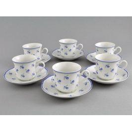 Набор чашек высоких Мэри-Энн Незабудки (0.2 л) с блюдцами, 6 шт. 03160415-0887 Leander