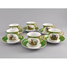 Набор чашек высоких Мэри-Энн Золото полей (0.2 л) с блюдцами 6 шт 03160415-0763 Leander