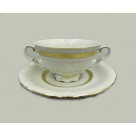 Чашка для супа Соната Изящное золото (0.35 л) с блюдцем 07120624-1239 Leander