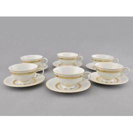 Набор чашек низких Соната Изящное золото (0.2 л) с блюдцами, 6 шт 07160425-1239 Leander