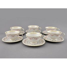 Набор чашек низких Соната Розовая нить (0.2 л) с блюдцами, 6 шт. 07160425-0158 Leander