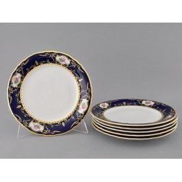 Набор тарелок Соната Темно-синий орнамент с розами, 25 см, 6 шт. 07160115-0440 Leander