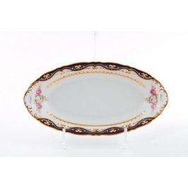 Блюдо овальное Соната Темно-синий орнамент с розами, 36 см 07111513-0440 Leander
