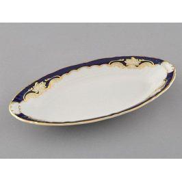 Блюдо овальное Соната Темно-синяя окантовка с золотом, 23 см 07116125-1357 Leander