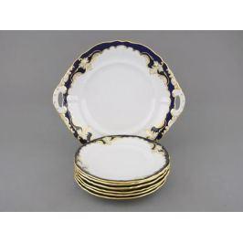 Сервиз для торта Соната Темно-синяя окантовка с золотом, 7 пр. 07161017-1357 Leander