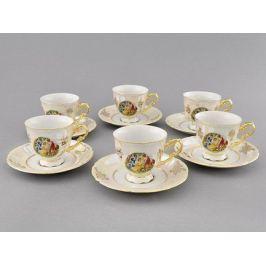 Набор чашек высоких Соната Пастораль (0.15 л) с блюдцами, 6 шт. 07160414-0676 Leander