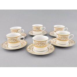 Набор чашек Сабина Золотой орнамент (0.2 л) с блюдцами, 6 шт. 02160415-1373 Leander