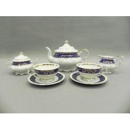 Сервиз чайный Соната Золотые узоры на синем, 15 пр. 07160725-1024 Leander