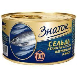 Знаток сельдь атлантическая натуральная с добавлением масла, 240 г