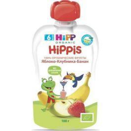 Hipp пюре яблоко, клубника, банан, с 6 месяцев, 100 г