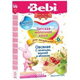 Bebi Премиум каша Печенье с вишней и яблоком овсяная молочная, с 6 месяцев, 200 г