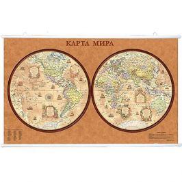 Издательство Ди Эм Би Карта Мира, Политическая, Полушария стиль Ретро 1:34М на рейках