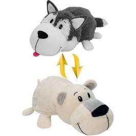 1Toy Мягкая игрушка-вывернушка 1toy Хаски - Полярный медведь, 40 см