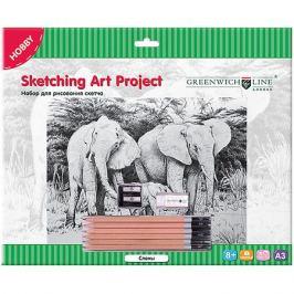 Greenwich Line Набор для рисования скетча Greenwich Line «Слоны»