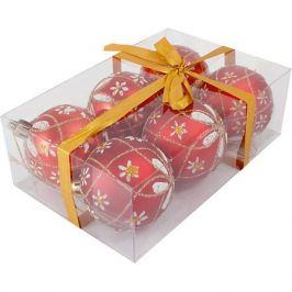 Волшебная страна Набор елочных шаров Magic Land красный с белым, 6 штук