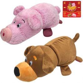 1Toy Мягкая игрушка-вывернушка 1toy Собака-Свинья, 35 см
