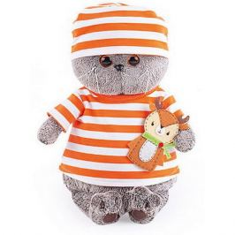 Budi Basa Мягкая игрушка Budi Basa Кот Басик в полосатой футболке с олененком, 22 см