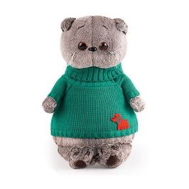 Budi Basa Мягкая игрушка Budi Basa Кот Басик в зеленом свитере с собачкой, 30 см