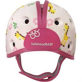 SafeheadBABY Мягкая шапка-шлем для защиты головы Safehead Baby Жираф, бело-розовый