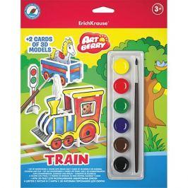 Erich Krause 3D пазл для раскрашивания Erich Krause ArtBerry Train акварель 6 цветов и 2 карты с фигурами для сборки