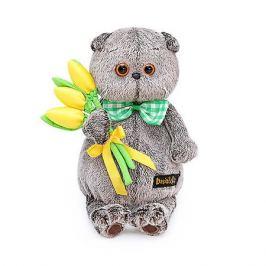 Budi Basa Мягкая игрушка Budi Basa Кот Басик с желтыми тюльпанами, 19 см