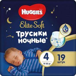 HUGGIES Подгузники-трусики Huggies Elite Soft 4 ночные, 9-14 кг, 19 шт