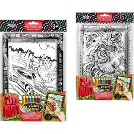 Danko Toys Набор для творчества Danko Toys Комплект из двух рельефных раскрасок Суперкар и Лев
