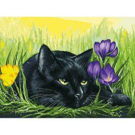 Белоснежка Картина по номерам Белоснежка «Кот и крокусы», 30x40 см