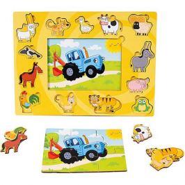 BochArt Деревянный пазл BochArt Синий трактор с животными