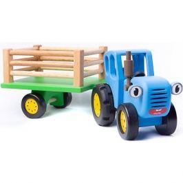 BochArt Игрушка деревянная BochArt Синий Трактор с прицепом