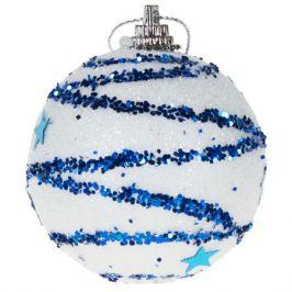 Шар ёлочный «Лилии» 6 см, цвет синий