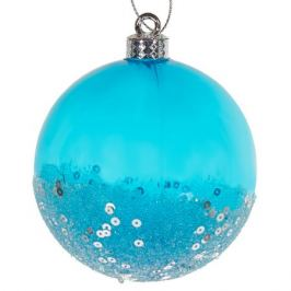 Шар ёлочный с блёстками, 8 см, цвет синий