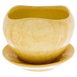 Горшок цветочный «Флокс» бежевый 0.35 л 90 мм, керамика, с поддоном