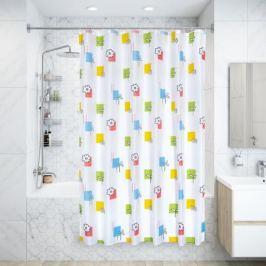 Штора для ванной комнаты «Каледоскоп» 180х200 см цвет белый