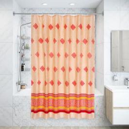 Штора для ванной комнаты «Ромбы красная» 180х200 см цвет красный