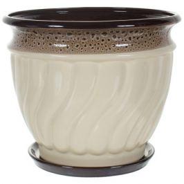 Горшок цветочный «Танго» бежевый 8 л 275 мм, керамика, с поддоном