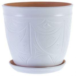 Горшок цветочный «Узоры» белый 14.4 л 280 мм, керамика, с поддоном