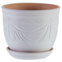 Горшок цветочный «Узоры» бежевый 2.4 л 155 мм, керамика, с поддоном