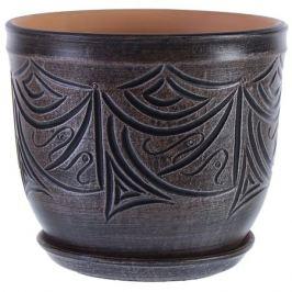 Горшок цветочный «Узоры» серый 7.9 л 245 мм, керамика, с поддоном