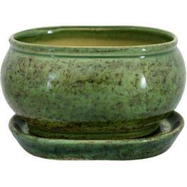 Горшок цветочный «Танго» зелёный 1.1 л 150 мм, керамика, с поддоном