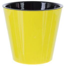 Горшок цветочный «Фиджи» жёлтый 1.6 л 160 мм, пластик, с поддоном
