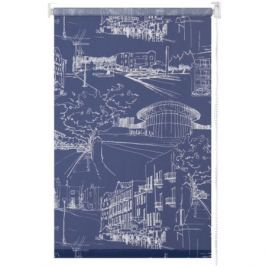 Штора рулонная «Город» 50х175 см цвет тёмно-синий