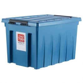 Контейнер Rox Box с крышкой с роликами, 40x36x60 см, 70 л, пластик цвет синий