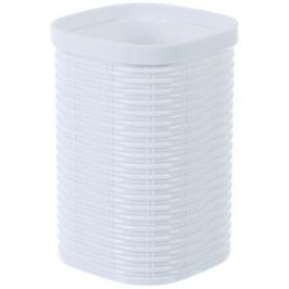 Стакан для зубных щёток настольный Swensa «Rotang» пластик цвет белый