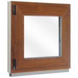 Окно ПВХ одностворчатое, 60x60 см, поворотно-откидное правое, цвет золотой дуб