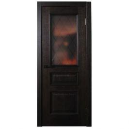 Дверь межкомнатная остеклённая шпон Вельми 90x200 см цвет венге