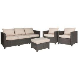 Набор садовой мебели Naterial Cape Cod полиротанг коричневый: табурет, диван и 2 кресла
