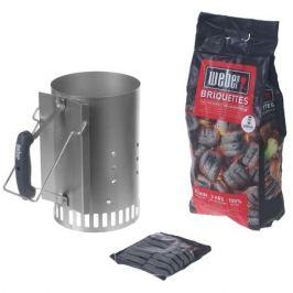Набор для розжига Weber: стартер, брикеты угольные 2 кг, кубики 3 шт