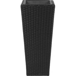 Кашпо для цветов 42x90 см, полиротанг, цвет черный