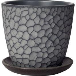 Горшок цветочный «Манго», 0.7 л 120 мм, бетон, цвет серый